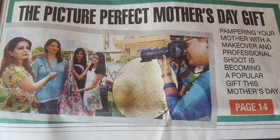 Got featured in Times of India, Delhi Times, Front Page for Personal Styling and Makeover for Mothers & Kids in the Mother's Day Photo Shoot Event - May 30 2017