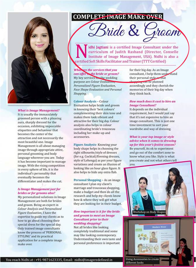 Nidhi Jagtiani's article in Ravishing Magazine for Brides and Grooms and how they can apply the concepts of Personal Styling in their daily life. - Sep 16 2015