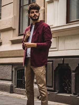 Maroon/Wine shirt and Brown trousers