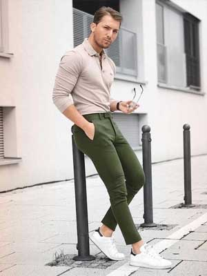 Beige Polo and Olive green chinos