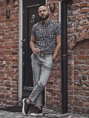Printed shirt and Grey trousers